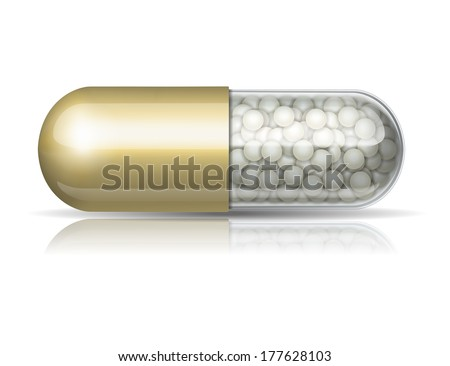 medical golden  capsule with