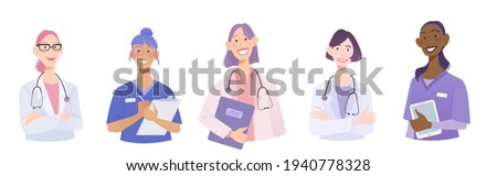 Medical group of doctor, nurse and intern. Female health care team characters avatar. Flat vector illustration Stockfoto ©