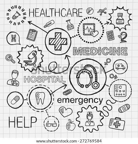 Medical hand draw integrated icons set. Vector sketch infographic illustration with line connected doodle hatch pictograms on paper: healthcare, doctor, medicine, science, emergency, pharmacy concepts