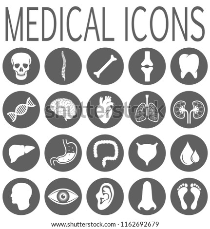 Medical health care. Human medicine research. Set medical icons with abstract human organs and parts of body. Isolated signs for healthcare Infographic. Vector illustration #1162692679