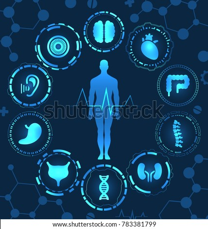 Medical Health Care, Human Organs, Virtual Body Hi Tech Diagnostic Panel, Medicine, Clinic Researchers - Illustration Vector