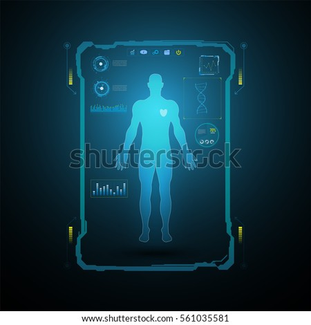 medical health care human virtual body hi tech diagnostic concept background