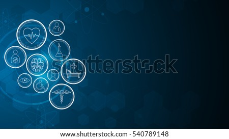medical health care innovative element on sci fi concept background