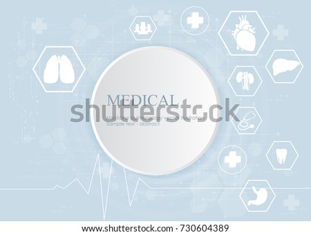 Medical health care science innovation concept pattern icon on blue background.Vector illustration.