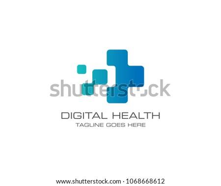 Medical Health Digital Logo Design Vector Template
