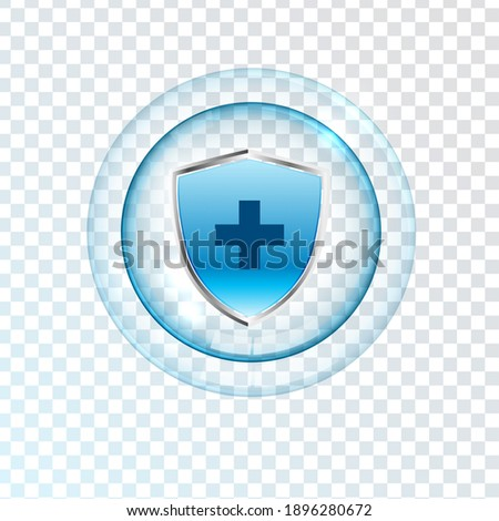 Medical health protection shield cross. Protected steel guard shield concept. Safety badge steel icon. Privacy metal banner shield. Security safeguard metal label. Presentation chrome sticker shape.