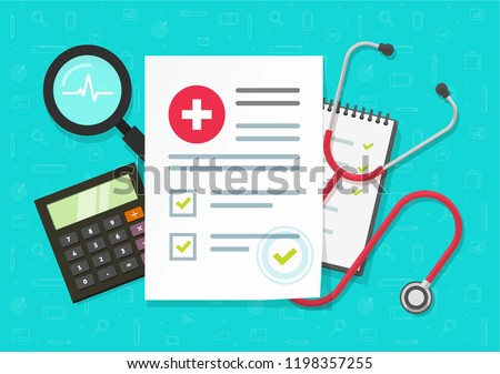 Medical health research report or contract vector, flat cartoon medicine or medicare record paper or insurance document work desk top view, concept of medicine check list, approved good test analyze