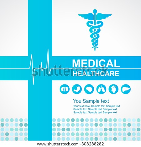 Medical healthcare - Blue cross and Caduceus and Waves of the Heart  and body organs icon vector design