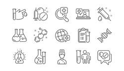 Medical healthcare, doctor line icons. Drug testing, scientific discovery and disease prevention icons. Chemical formula, chemistry testing lab. Linear set. Vector