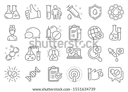 Medical healthcare, doctor line icons. Drug testing, scientific discovery and disease prevention signs. Chemical formula, medical doctor research, chemistry testing lab icons. Line signs set. Vector
