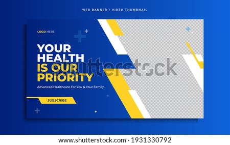 Medical healthcare web banner or video thumbnail template design. Hospital and clinic health service business promotion banner with logo and icon. Online marketing video cover for doctor and dentist. Foto stock ©