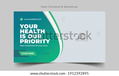Medical healthcare web banner template and video thumbnail. Editable promotion banner design. Dental hospital clinic social media layout Foto stock ©