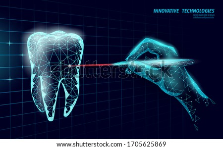 Medical healthy human tooth 3d. Medicine model low poly. Doctor online laser surgery concept. Dentistry web healthcare dentist stomatologist modern technology vector illustration Stockfoto ©