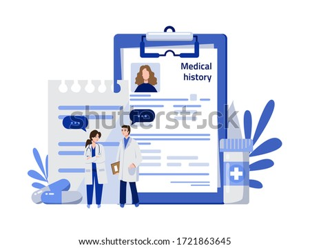 Medical history concept. Doctors woman and man explore patient medical history, card with illnesses. Medical diagnosis, medical history, patient card. Vector illustration. Modern flat design.