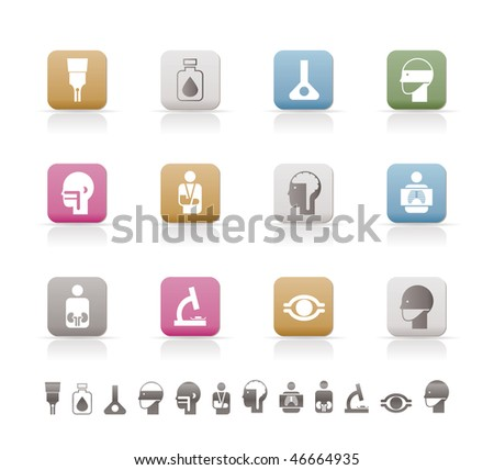 medical, hospital and health care icons - vector icon set
