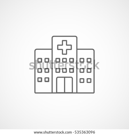 Medical Hospital Line Icon On White Background