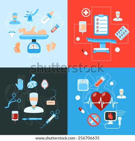 Medical hospital surgery flat icons composition of baby birth and heart rate monitoring abstract isolated vector illustration