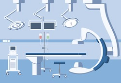 Medical hospital surgery operating room, theater with equipment in flat vector style. Operation surgical emergency, healthcare and clean, hygiene and table illustration