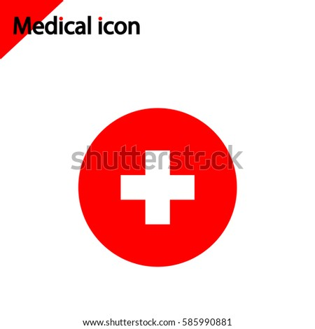 Medical icon on white background. Red cross sign.