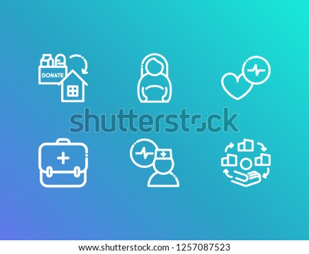 Medical icon set and medical assistance with doctor cardiogram, donor charity and pregnant woman. Cardiogram related medical icon vector for web UI logo design.