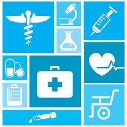 medical icon set, background