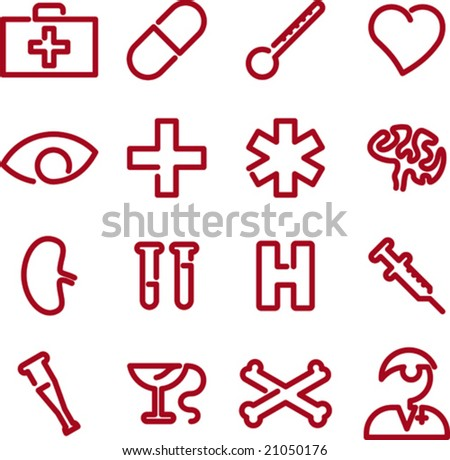 Shutterstock Medical icon set. CMYK mode. Global colors. Easy color changes. Easy proportions change.