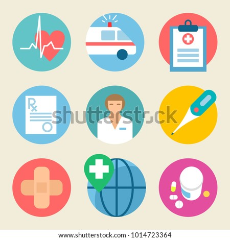Medical icon set. Health care, medicine service hospital doctor illustration. Flat graphic design