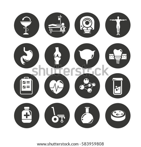 medical icon set in circle buttons