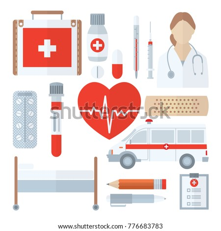 Medical icon set in flat style isolated on white. Medicine symbols closeup. Includes first aid kit, pills, thermometer, syringe, test tube, adhesive plaster, ambulance, couch, pencil, pen etc