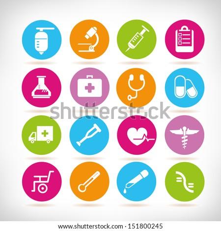 medical icon set, round button set