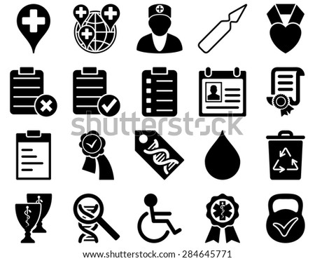 Medical icon set. Style: icons drawn with black color on a white background.
