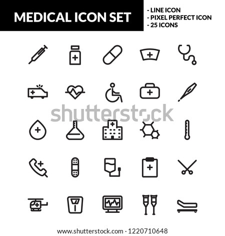 Medical icon set with line icons