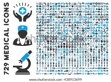 Medical Icon Set with 729 vector health care pictograms. Style is bicolor blue and gray flat healthcare symbols isolated on a white background. Good for hospital apps and web sites.