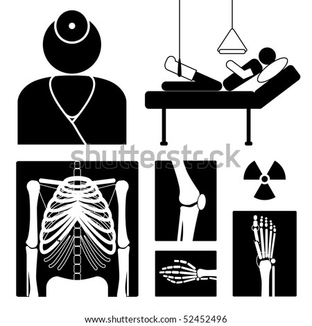 Medical icon with x-ray pictures, doctor and patient, vector illustration