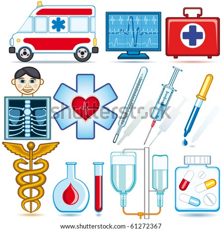 Medical icons and symbols set. Each object is fully editable and is located on a separate layer