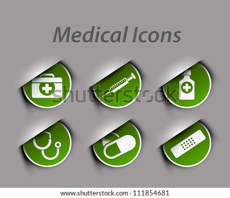 Medical icons and symbols vector set isolated on green.
