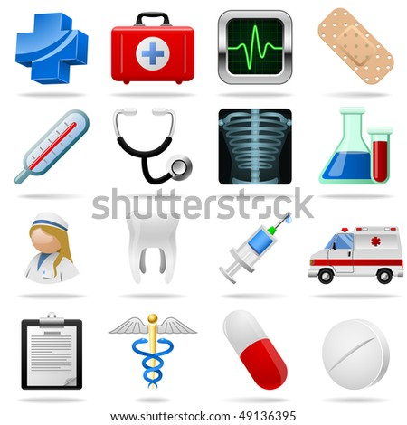 Medical icons and symbols vector set isolated on white. - stock vector