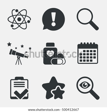 medical icons atom  magnifier