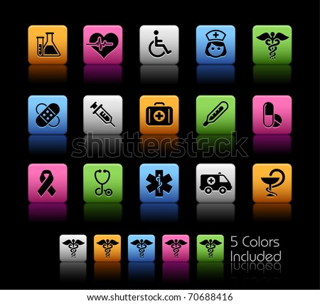 Medical Icons // Color Box -------It includes 5 color versions for each icon in different layers ---------