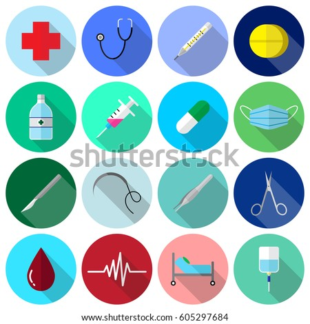 Medical Icons Color Flat Design