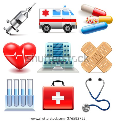 Medical icons detailed photo realistic vector set