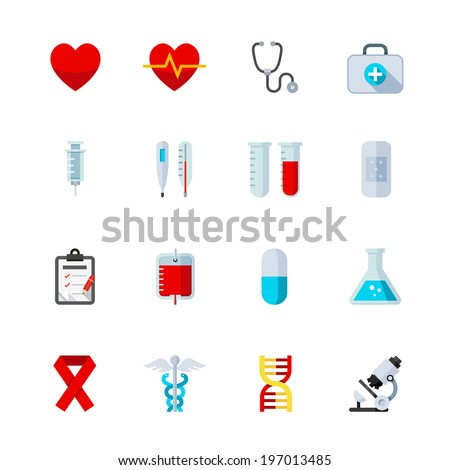 Medical Icons : Flat Icon Set for Web and Mobile Application