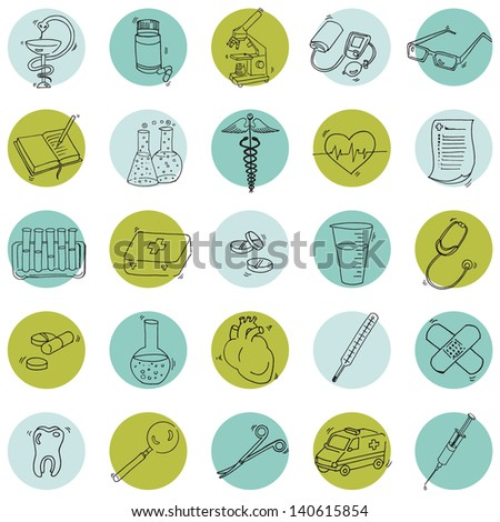 Medical Icons - hand drawn - in vector
