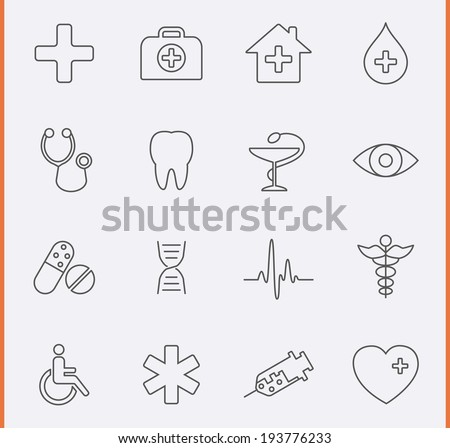 Medical Icons in thin line style
