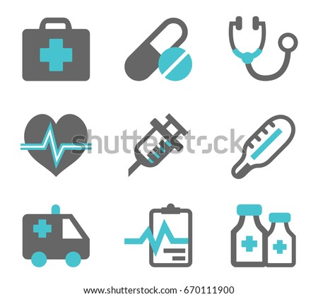 Medical icons in two colors. Vector set