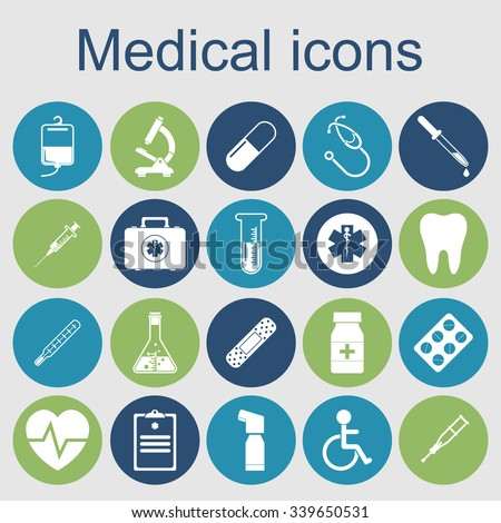 medical icons. medical equipment, tools. concept health and treatment. Vector illustration
