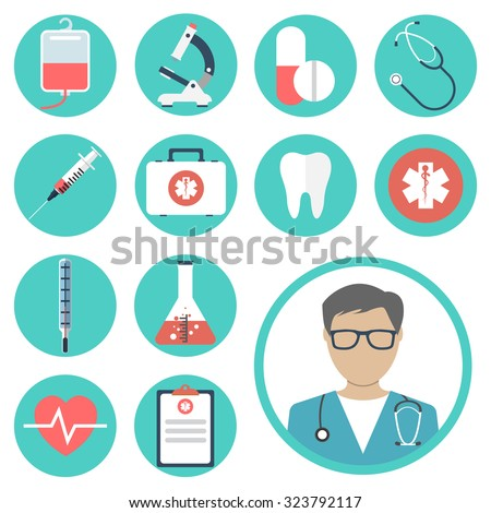 medical icons. medical equipments, tools. colorful template web and mobile applications. flat design. health and treatment. modern concept, vector illustration