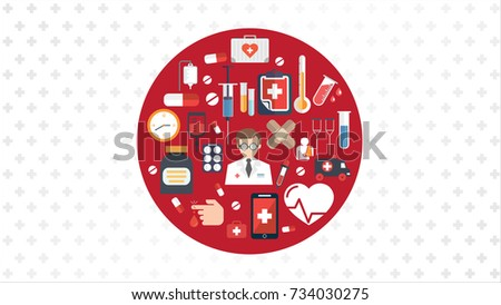 medical icons. medical equipments, tools. colorful template web and mobile applications. flat design. health and treatment. modern concept, vector illustration, healthcare medicine icons