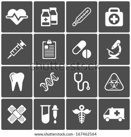 Medical icons on black background. Vector illustration