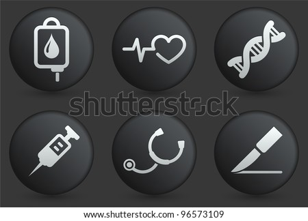 Medical Icons on Black Internet Button Collection Original Illustration